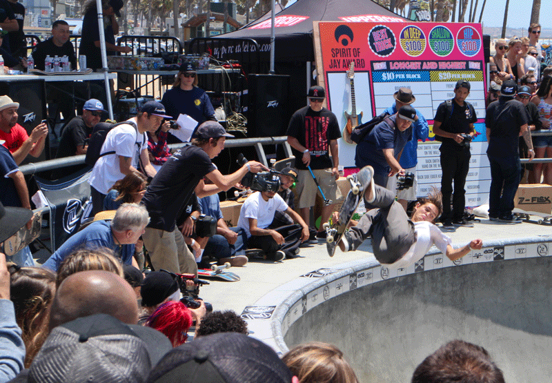 "Isiah Sanchez competing in the Bowl Jam at the Jay Boy Classic in Venice Beach on Saturday, May 23, 2015. Having hundreds of people watching him while competing is not something that effects his performance, ""I don't really think about anyone. I just skate,"" he said after winning first place in the Bowl Jam."