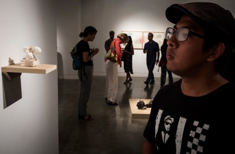 Jesus Rodriquez a freshman at Santa Monica College attends a lecture and gallery showing for Ann Page at the Broad Stage and The Pete & Susan Barrett Art Gallery in Santa Monica, California.