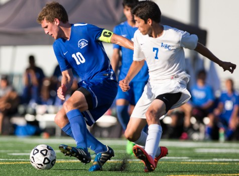 Santa Monica Corsair midfielder, Danny Hulbert (10), fights to hold control over the ball from Allan Hancock Bulldog defender Mike Arevalo (7) on September 25, 2015 on the Corsair field at Santa Monica College in Santa Monica, California. Corsairs take home a win against the Bulldogs 3-0.