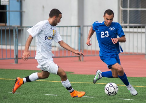 Santa Monica College Corsair Claodio Maaloof (#23)(right) tries to control the ball under the pressure of College of the Canyons Omar Navarro (#11)(left) during the match on September 15, 2015 at Santa Monica College in Santa Monica, California. The Corsairs go on to win 1-0.