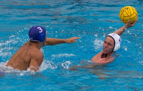 Santa Monica Corsair, Antonis Nahabed (3), races to steal the ball from Southwestern Jaguar, David Carroll (4) during the match at Santa monica College. Santa Monica Corsairs lose to the Southwestern Jaguars 6-9.