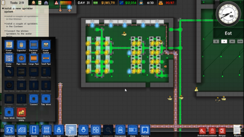 As it turns out prisons require a lot of electrical wiring which the schematic mode allows you to easily distribute