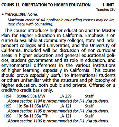 "The same course in the official catalog lists Counseling 11 as ""highly recommended."""