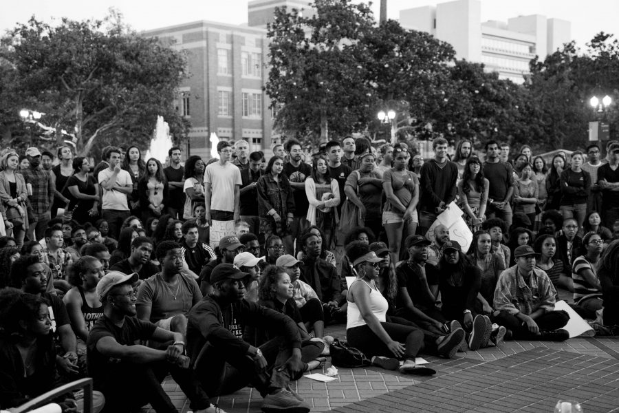 A large crowd of people, of all races, gathered on the University of Southern California campus on Saturday, July 9th. to show support for the black lives matter movement.