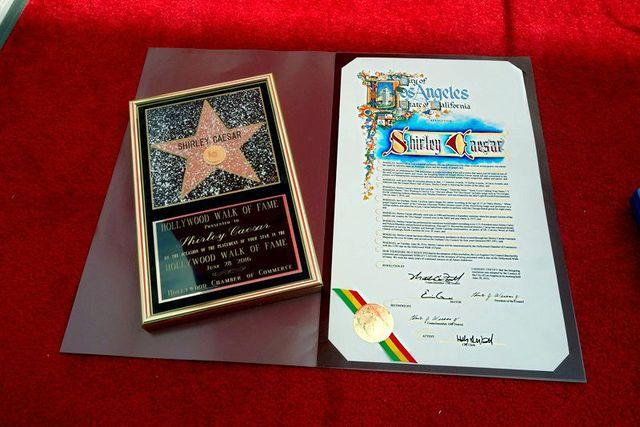 Shirley Ceasar's framed star in Hollywood Calif.