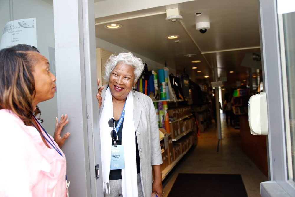 Kathryn Jeffery takes a stroll through the Santa Monica College bookstore on the first day of the fall semester on August 30, 2016 in Santa Monica, Calif.