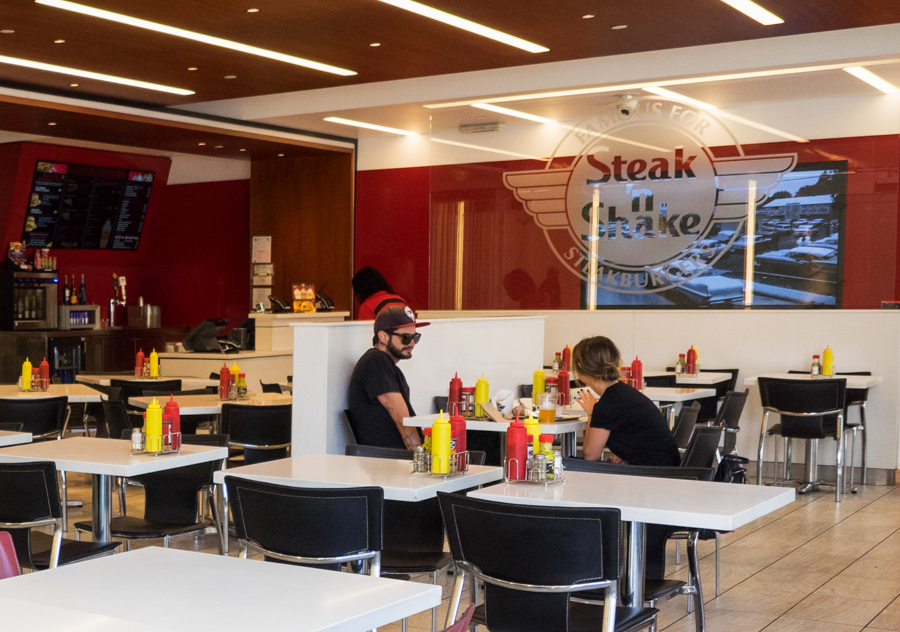 "Ketchup and mustard bottles populate the Steak 'n' Shake restaurant of Third Street Promenade in Santa Monica, Calif. on Friday, Sept 16, 2016.  Steak 'n' Shake, formerly The Broadway Deli, was used as a filming location for the movie ""Heat."" (Andrew Aono)"