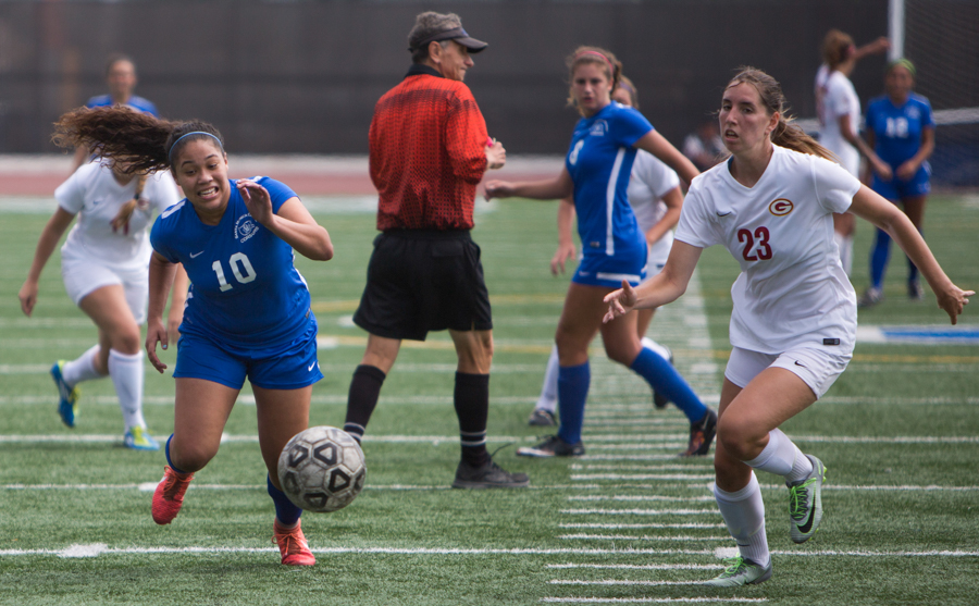 Santa Monica College Corsair Joycelin Hill (10)(left) splits The Saddleback College Gauchos for a goal position on the Corsair Field in Santa Monica, Calif. on September 7, 2016. The Corsair's tie 0-0. (Daniel Bowyer)