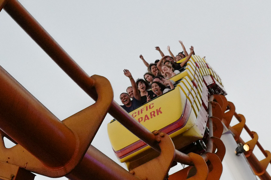 People scream as they ride the Pacific Park roller coaster in Santa Monica, Calif, on Saturday , September 17, 2016. (Yulia Morris)