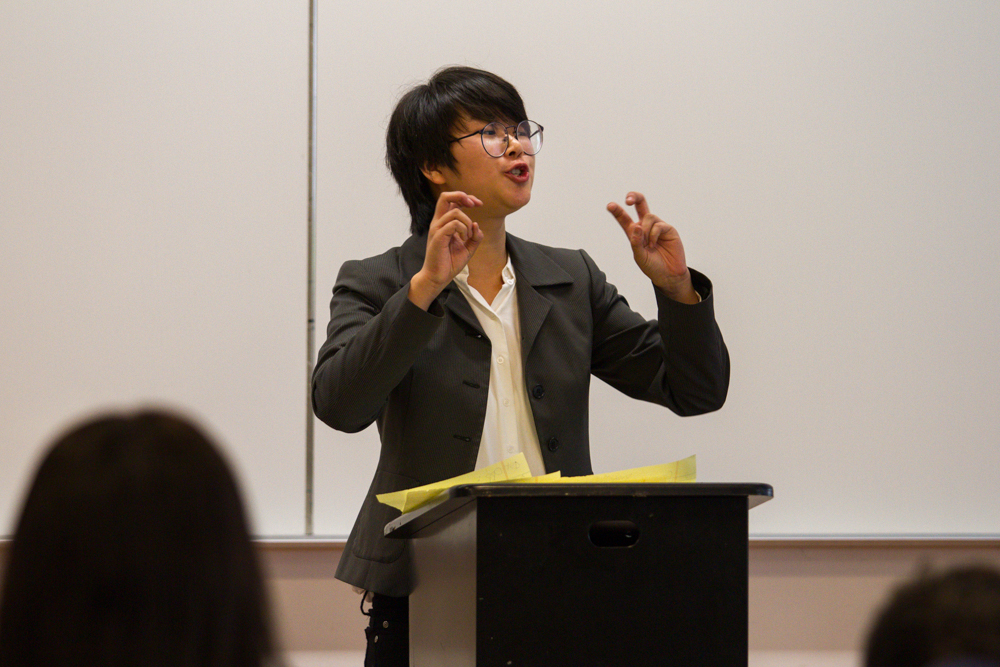 Frankie Duan, a politcal science major at Santa Monica College, participates in round 3 of the debate competition held at SMC in Santa Monica, Calif. on October 28, 2016. This round focused on restrictions of free speech within social media. (Jose Lopez)