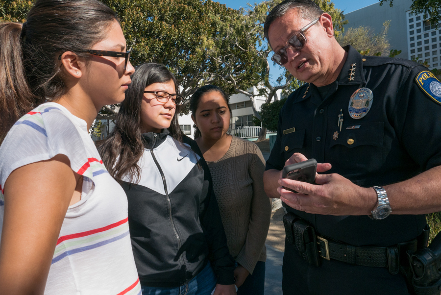 SMC Chief of Police Johnnie Adams shows the new app LiveSafe at Santa Monica College in Santa Monica Calif. on Monday, September 26, 2016.  LiveSafe is an app the police department at SMC wants to implement in order to promote safety. Within LiveSafe, you can contact both the SMCPD and the LAPD by calling or messaging them, or conveniently send them pictures or videos of the issue. There are also a variety of other safety features. (Yulia Morris)