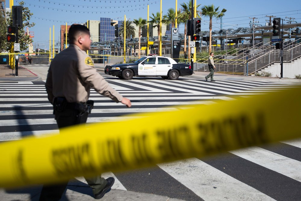 Sheriffs close off Colorado and 4th Street designating the area a crime scene after an officer involved shooting at the Downtown Santa Monica Metro Station in Santa Monica, Calif. on October 4, 2016. (Jose lopez)