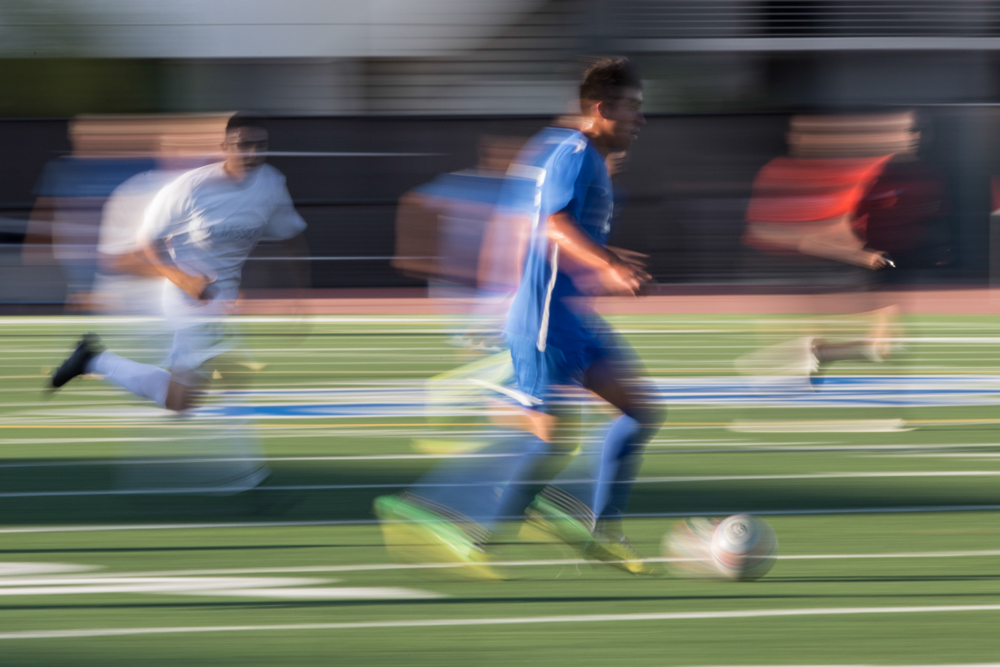 Santa Monica Corsair, Victor Tapia (25) (center) runs across the field to the goal against LA Mission Eagles' during a match held on the Corsair field at Santa Monica College in Santa Monica, Calif. On Friday, October 21, 2016. The Corsair's tie 1-1. (Yulia Morris)