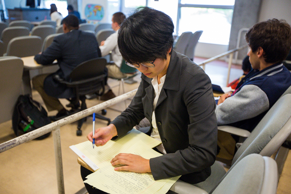 Frankie Duan, a political science major at Santa Monica College, prepares for round three of the debate competition held at Santa Monica College in Santa Monica, Calif. on October 28, 2016. (Jose Lopez)