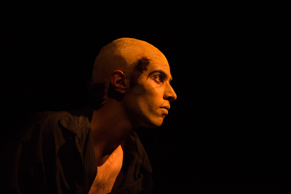 "Amir Hatef, in the role of Protagonist in the ""Catastrophe"" scene glances out toward the crowd for the upcoming theater performance of Samuel Beckett Quartet at the Santa Monica College Main Stage on Friday, October 28, 2016. (Rosangelica Vizcarra)"