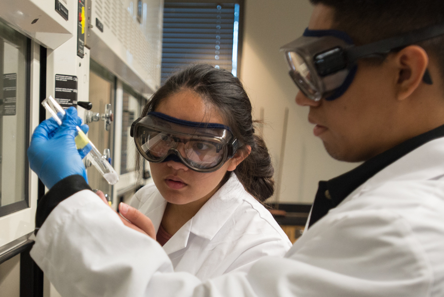 Santa Monica College student Gustavo Gonzalez, 18, (right) holds up a test tube while Stephanie Delosantos,18,(left) observes the reaction during class on Santa Monica College in Santa Monica, Calif on Monday, October 17, 2016. Delosantos is a freshman at SMC pursuing a major in biology. The U.S. Department of Education has awarded SMC a five-year grant totaling nearly $6 million to expand STEM programs to increase the number of Hispanic, and other low-income community college students interested in transferring to a four-year program or pursuing a career in STEM. (Rosangelica Vizcarra)