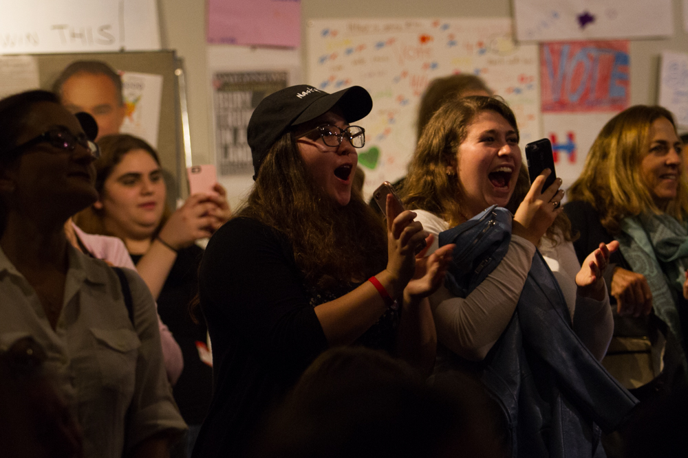 Hillary Clinton supporters cheer in enthusiasm after Clinton won California at the Westside Democratic Headquarters in Santa Monica, Calif on Tuesday, November 8, 2016. (Josue Martinez)