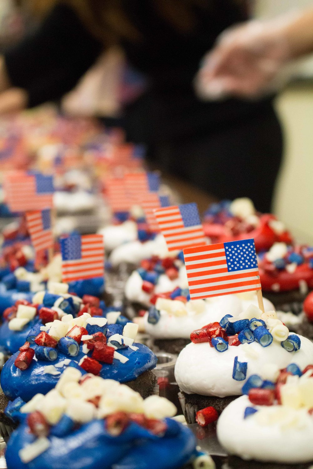 The Associated Students of Santa Monica College offer cupcakes decorated in our nation's patriotic colors are ready for Santa Monica College students to enjoy in the Cayton Center in the Santa Monica College campus in Santa Monica, Calif on Tuesday, Nov 9, 2016.