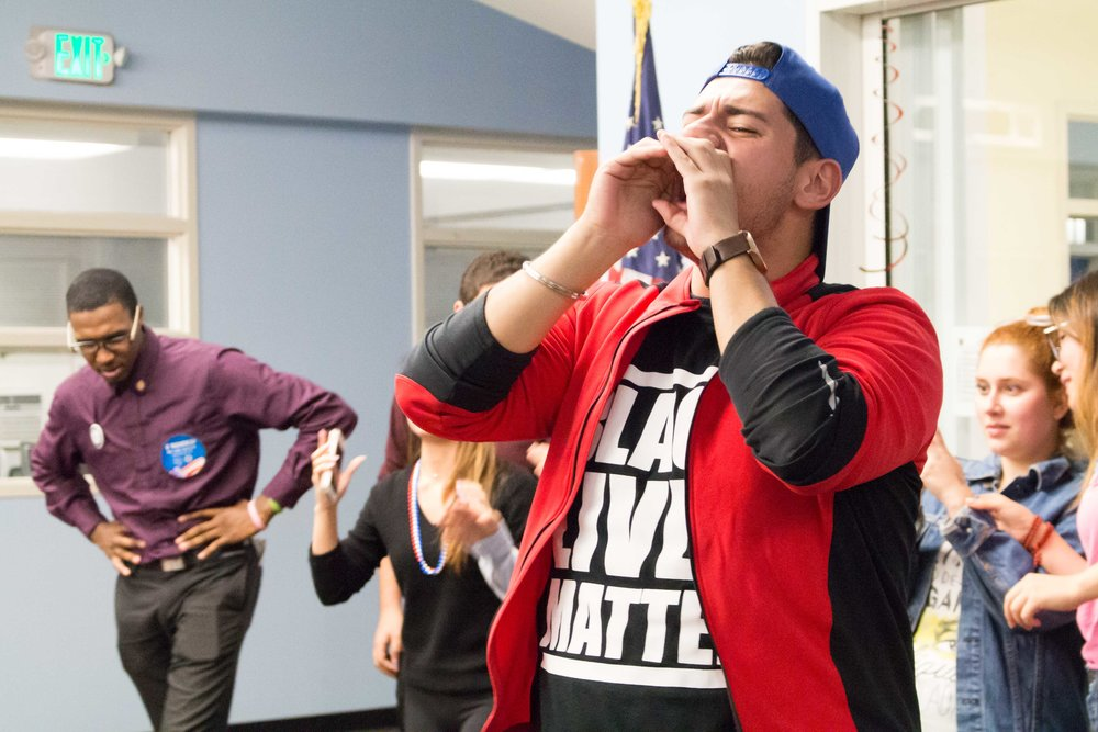 "Walther Perez, Associated Student Director of Instructional Support, chants ""Proud to be,"" as the cowd of Santa Monica Students replies ""SMC"" to help rally the crowd of election viewers together during the 2016 presidential election viewing party is underway in the Cayton Center in the Santa Monica College campus in Santa Monica, Calif on Tuesday, Nov 9, 2016."