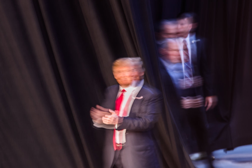 Donald Trump enters the stage at a rally in Costa Mesa on April 28, 2016. (Photo By Christian Monterrosa)