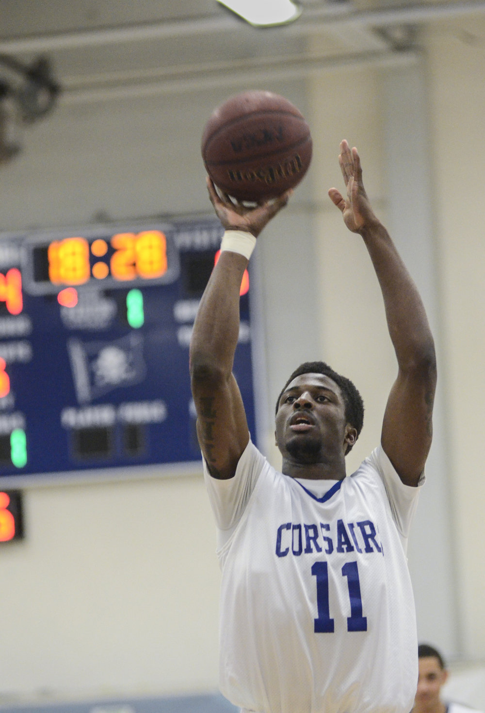 SMC freshman forward David Nwaba (11) goes for a shot. The SMC Corsairs beat the Citrus College Owls 73-68 on Wednesday, February 13, 2013 on the main campus of Santa Monica College in Santa Monica, Calif. Photo by Amy Gaskin.
