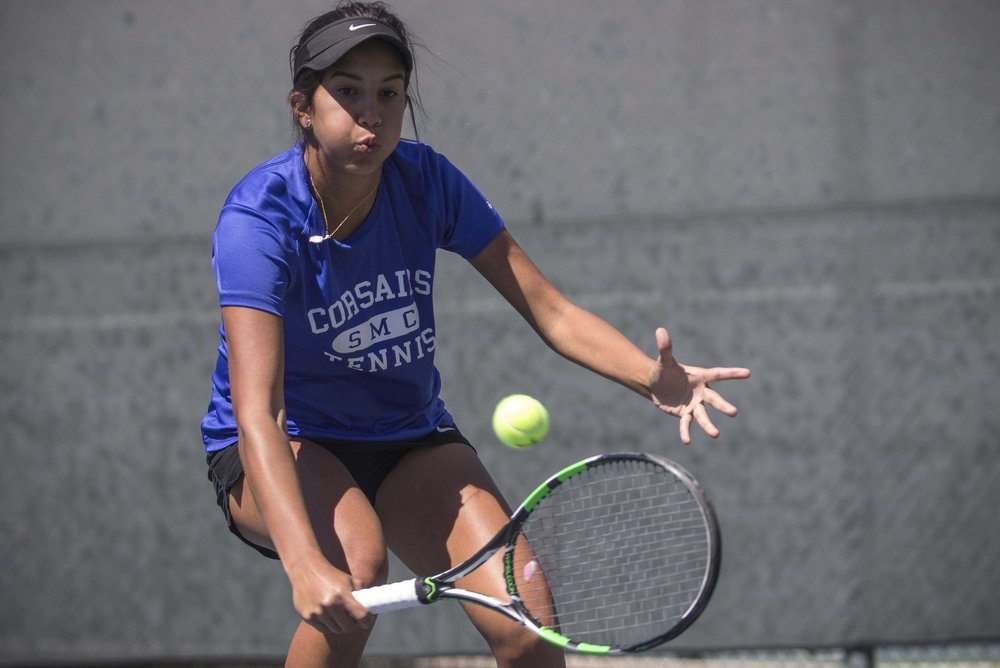 Santa Monica College Corsair Freshman #3 singles Sabrina Subero drops down to reach a backhand in her 2-0 (6-3, 6-3) victory, which was part of the Corsairs 7-1 blowout over Ventura College at Ocean View Park in Santa Monica California on March 23, 2017 (Photo By: Zane Meyer)
