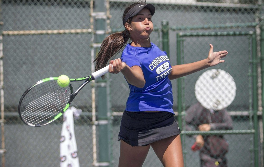Santa Monica College Corsairs freshman #3 singles Sabrina Subero goes for a powerful forehand in her 2-0 (6-3, 6-3) victory which helped lead the Corsairs to a 7-1 victory of Ventura College at Ocean View Park in Santa Monica California on March 23, 2017 (Photo By: Zane Meyer)