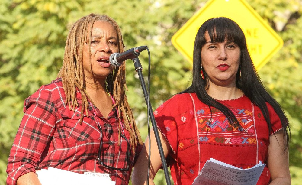 Speakers and organizers of the rally for the women's strike in LA on March 8th (photo by José Aguila)
