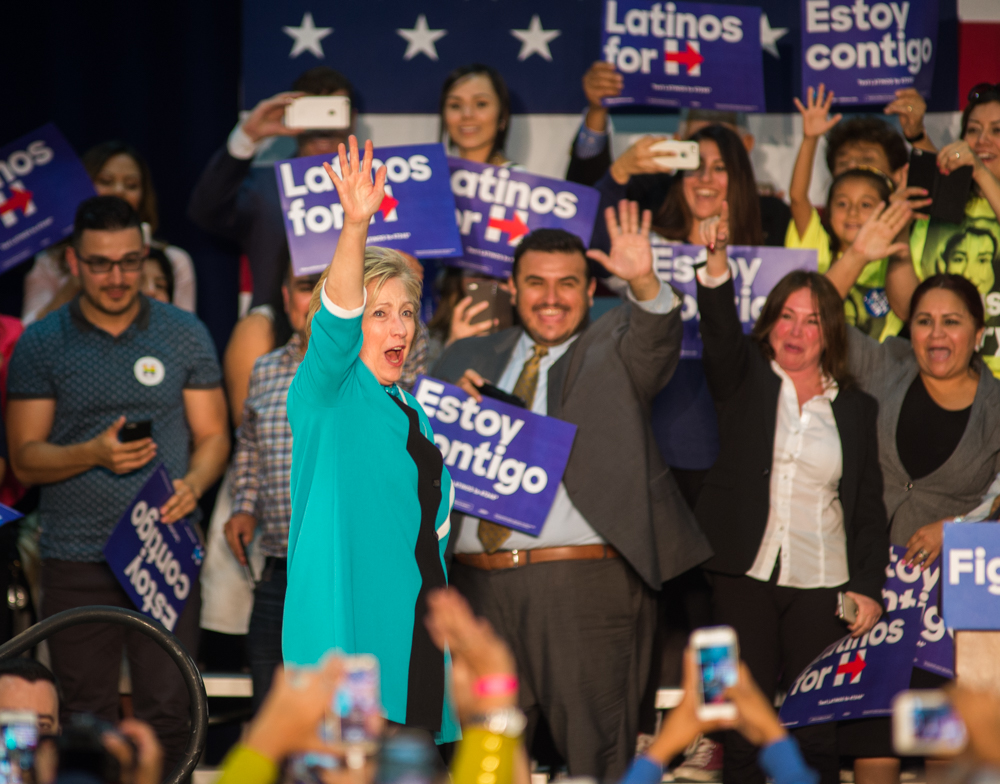 Democratic presidential candidate Hillary Clinton walks on stage during a campaign rally at East Los Angeles College in Monterrey Park, CA on Thursday, May 5, 2016. (Josue Martinez)