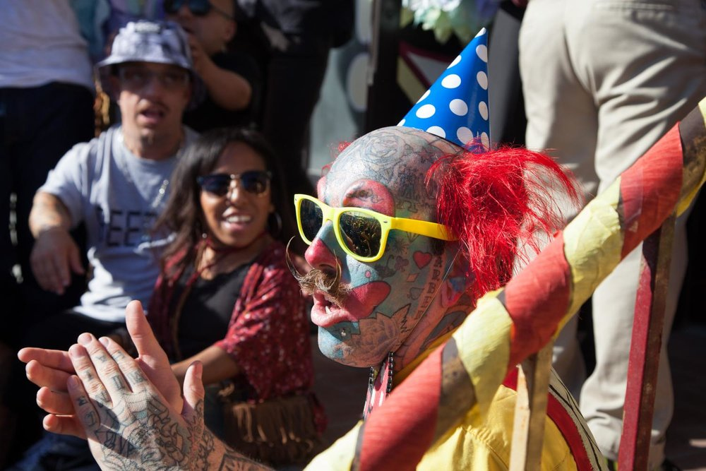 Richie The Barber applauds along with the crowd after Jessa The Bearded Lady gets married on the front steps of The Venice Beach Freakshow, by Todd Ray, owner of the Freakshow on Sunday, April 30, 2017 in the Venice Neighborhood of Los Angeles, Calif. The Venice Beach Freakshow held the wedding as part of its last event, a Farewell Party and Protest, as it closes its doors for the last time.Alfonso Castaneda Jr.