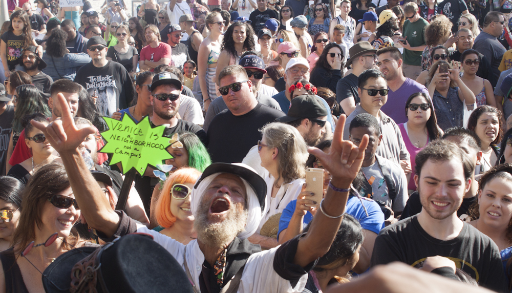 Protesters support the Venice Beach Freakshow during its goodbye celebration which also doubled as a wedding on Sunday April 30,2017, in Venice, CA. Photo by Cecilia Martin.