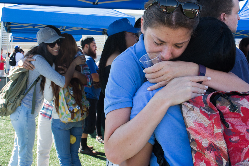 Santa Monica College students embrace one another during an on-campus Election Grief Counseling Awareness meeting designed to help students learn about and comprehend the election and its outcome at Santa Monica College in Santa Monica, Calf. on November 10, 2016. (Photo by: Marisa Vasquez)