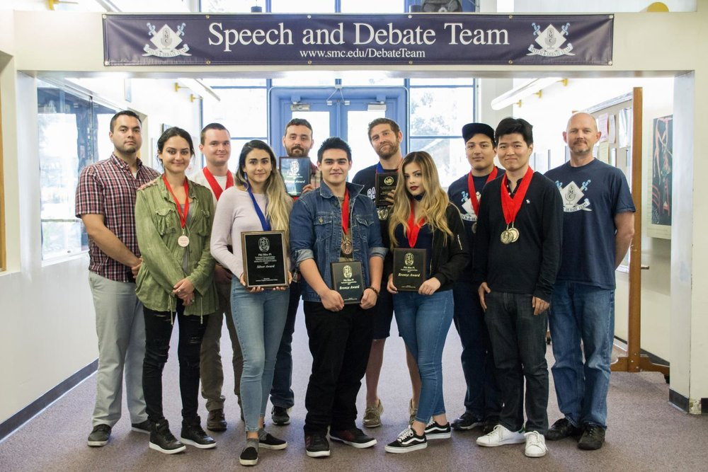 The Santa Monica Debate Team displays their various awards they have won this semester including team awards for third place at PSCFA Spring Championships and silver at Phi Rho Pi (National Champions) at the Letters and Science Building in the Santa Monica College campus in Santa Monica Calif. on May 11, 2017. (Marisa Vasquez)