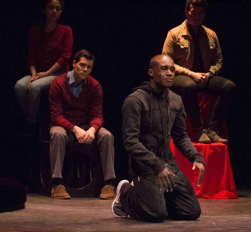 Jordan Worthy (center), Voice #1, portraying a man abused by his teacher. Voices of Hope, play by Pamela Lassiter Cathey about sexual assault and its consequences for the victims. On Studio Stage Productions/Performances at Santa Monica College, Calif. On Friday April 28, 2017. (Emeline Moquillon)