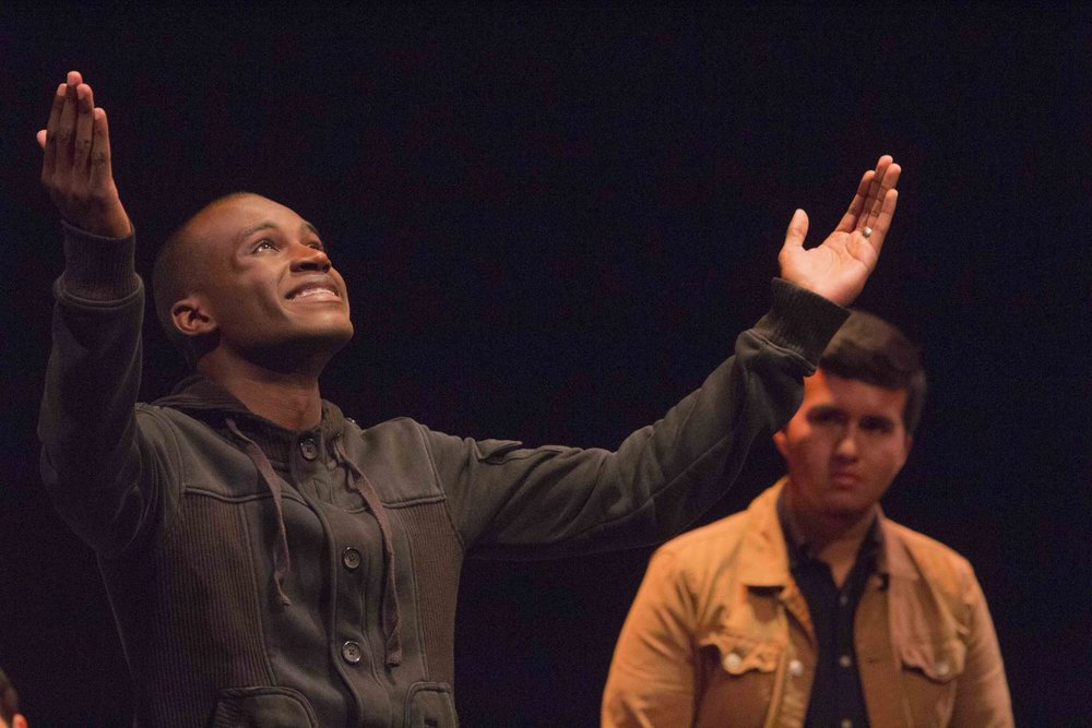 Jordan Worthy (left), Voice #1, portraying a man abused by his teacher. Voices of Hope, play by Pamela Lassiter Cathey about sexual assault and its consequences for the victims. On Studio Stage Productions/Performances at Santa Monica College, Calif. On Friday April 28, 2017. (Emeline Moquillon)