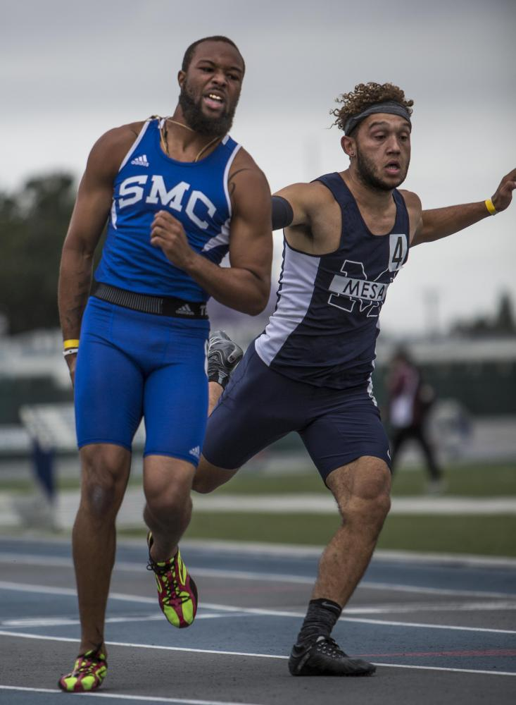 Santa Monica College freshmen athlete Jordan Herrera wins 1st place, but pulls his hamstring crossing the finish line while competing in the Men's 100m Dash during the So Cal track and field semi-finals at the Cerritos College field in Norwalk, California, on Saturday, May 6, 2017. (Daniel Bowyer)