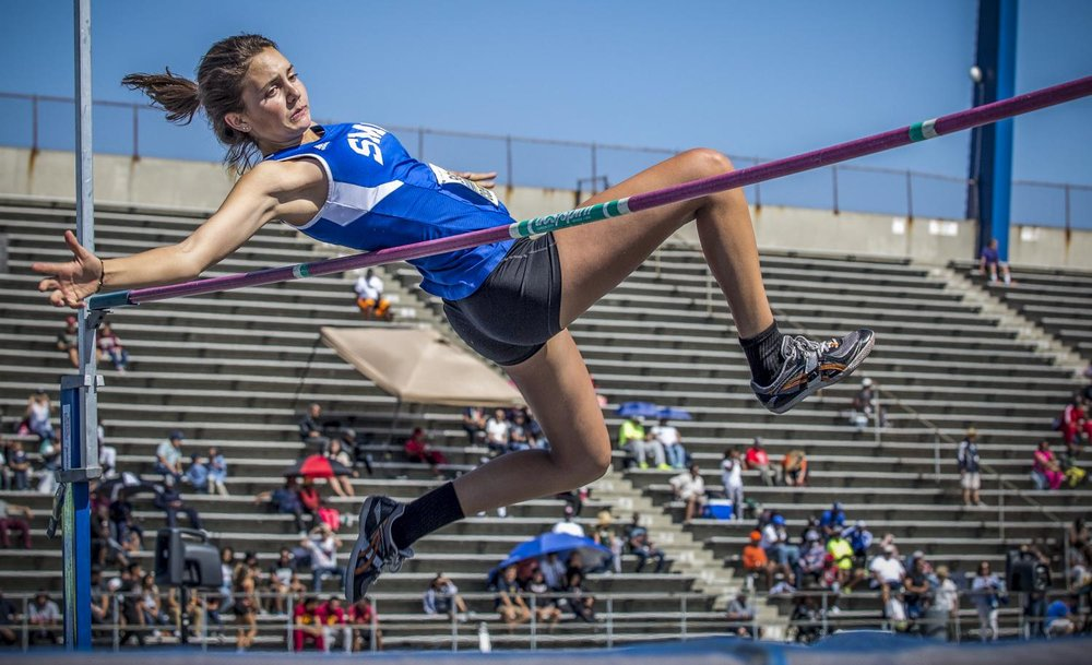 Santa Monica College Corsair sophomore athlete Michaela Cosentino competes in the Women's High Jump event during the So Cal track and field finals in the Cerritos College field in Norwalk, Calif., on Saturday, May 13, 2017. Cosentino would come in 9th place for the Women's High Jump event. (Matthew Martin)