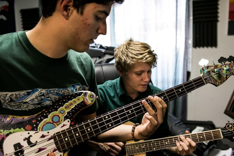 Rock Band, Cotton Ships, records at a studio in Granada Hills, Calif. on Saturday May 14, 2016. (Christian Monterrosa)