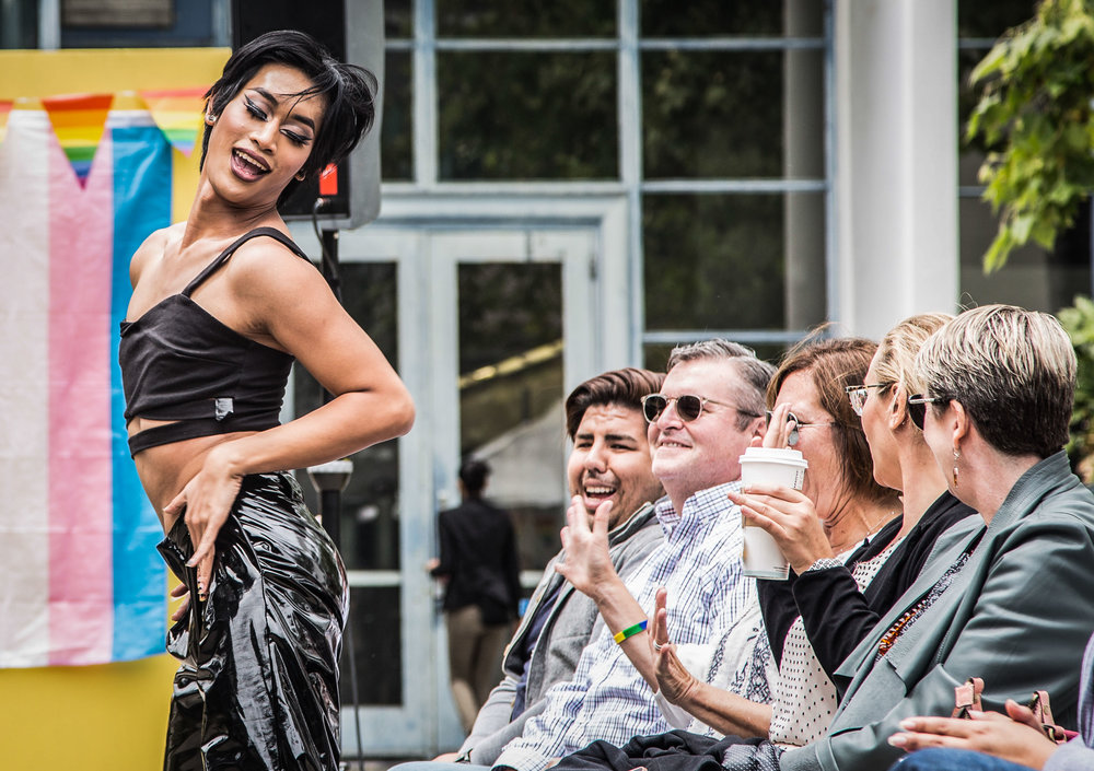 Santa Monica College Student Tommy Pathammavong Vixyn dances down the runway while interacting with the audience during the AS Fashion Show that would bring SMC's pride week to a close, which took place on the Clocktower Quad in Santa Monica College's main campus in Santa Monica Calif., on Thursday May 25, 2017. (Corsair Photo: Matthew Martin)