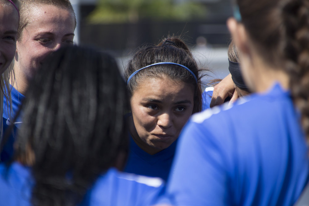 Chrystal Dorado, middle, giving her teammates a pre game speech before their game against the Long Beach City College Vikings on Tuesday, August 29, 2017 at Santa Monica College Field in Santa Monica, California. The Santa Monica Corsairs had two goals disallowed in their 1-1 tied against the Vikings. (Photo by: Brian Quiroz)