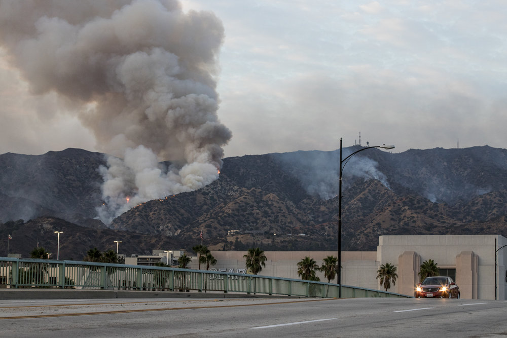 La Tuna Fire continues to burn throughout the Labor Day weekend in Burbank, Ca on September 2, 2017. The wildfire started due to the heatwave in Los Angeles. (Jazz Shademan)