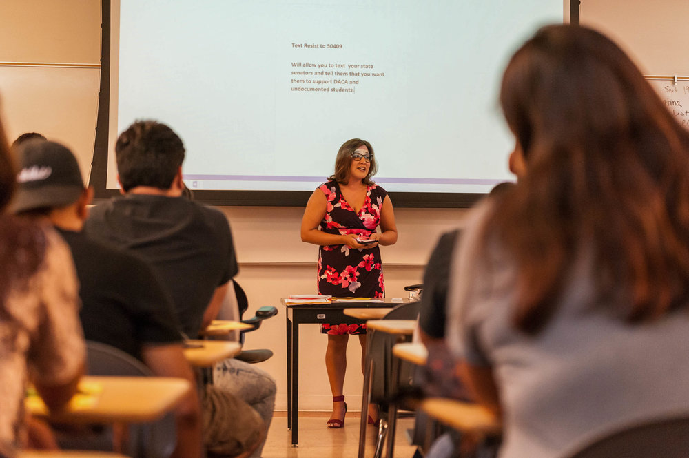 Project Manager of Student Equity, Cyndi Bendezú, shares her story of an once being an undocumented student and overcame barriers to graduate college. Cyndi spoke at Santa Monica College's Main Campus at HSS 103 in Santa Monica, Calif.. September 5, 2017. (Photo by: Justin Han/Corsair Staff)