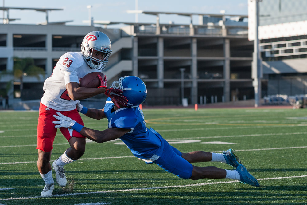 Defensive back Tyree Fryer (6) of the Santa Monica College Corsairs forces Palomar College wide receiver Rashad Harper (23) out of bounds to end the play. The Santa Monica College Corsairs lost the game against the Palomar College Comets 14-45. The game was played on the Corsair Field at the Santa Monica College Main Campus in Santa Monica, Calif.. September 9, 2017. (Photo by: Justin Han/Corsair Staff)