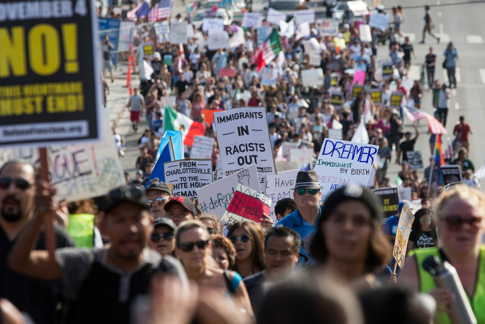 Immigration rights activists march from MacArthur Park to Olvera Street on September 10, 2017 in Los Angeles, California. (Jose Lopez)