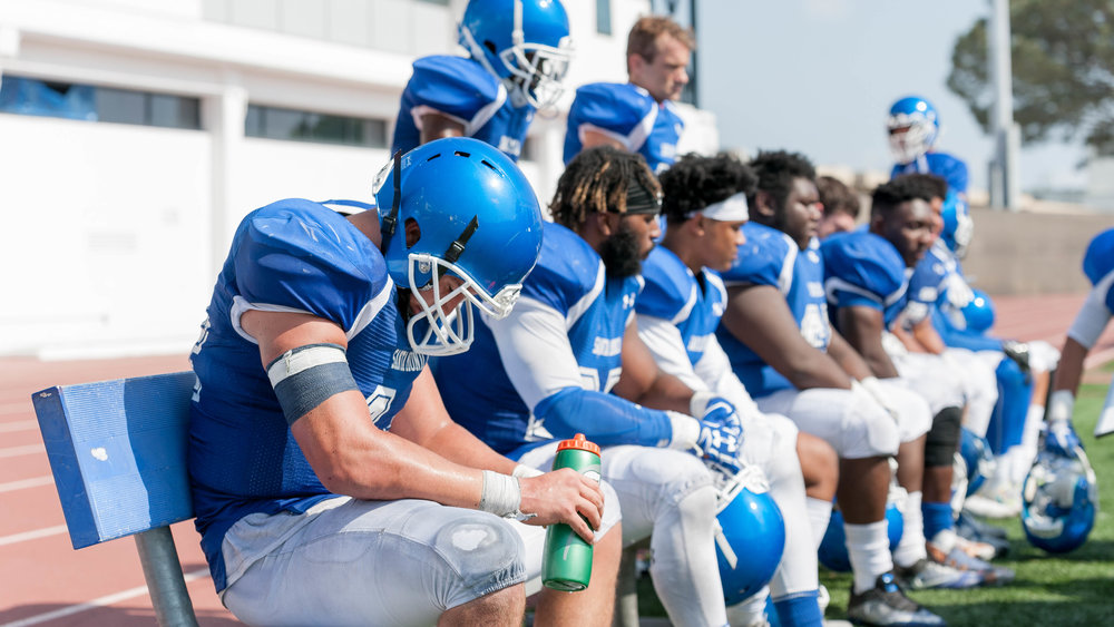 Corsairs Chris Wein (44 left) takes a breather during a timeout on Corsair Field at the Santa Monica College Main Campus in Santa Monica, Calif. (Justin Han)