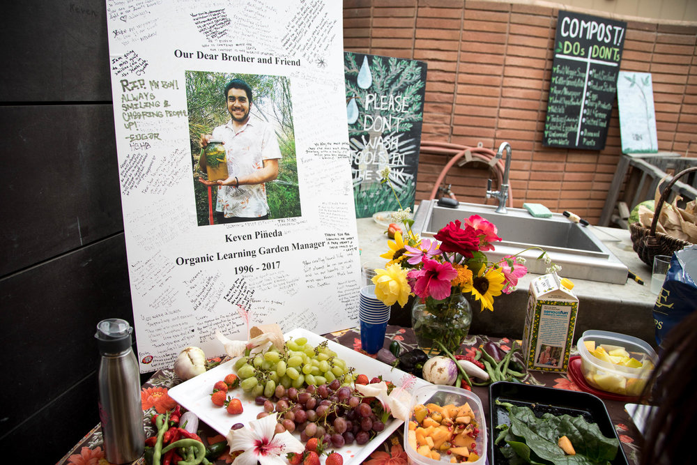A memoral service was held at the Santa Monica College garden for Keven Pineda on September 19, 2017 in Santa Monica, Calif. He was a 20 year old SMC student and Garden Club member. (Jazz Shademan)