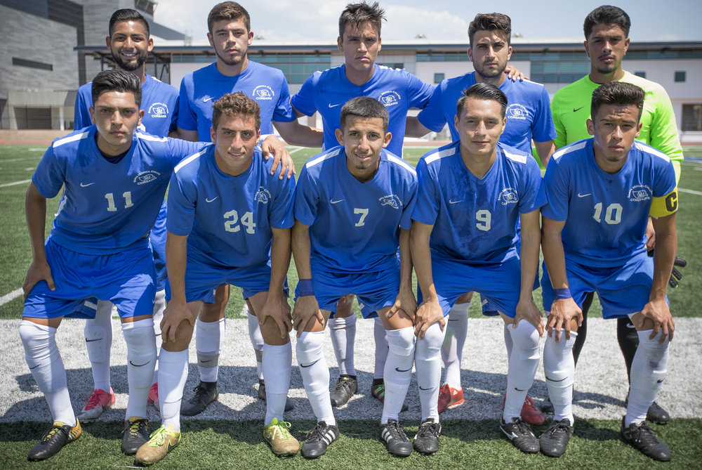 The starting players for Santa Monica College Corsairs mens soccer team posing for a photo before play against the El Camino College Warriors, Friday, September 1st, 2017, at the Sana Monica College Main Campus field in Santa Monica, CA. The Corsairs beat The Warriors 5-1. (Daniel Bowyer/Crsair Staff)