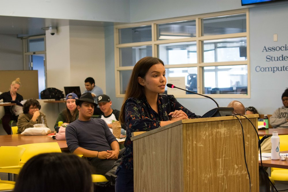 Saori Gurung who held the interim position for Director of activities is shown speaking for the offical position at Santa Monica College in Santa Monica, California. (Photo by Ethan Lauren)