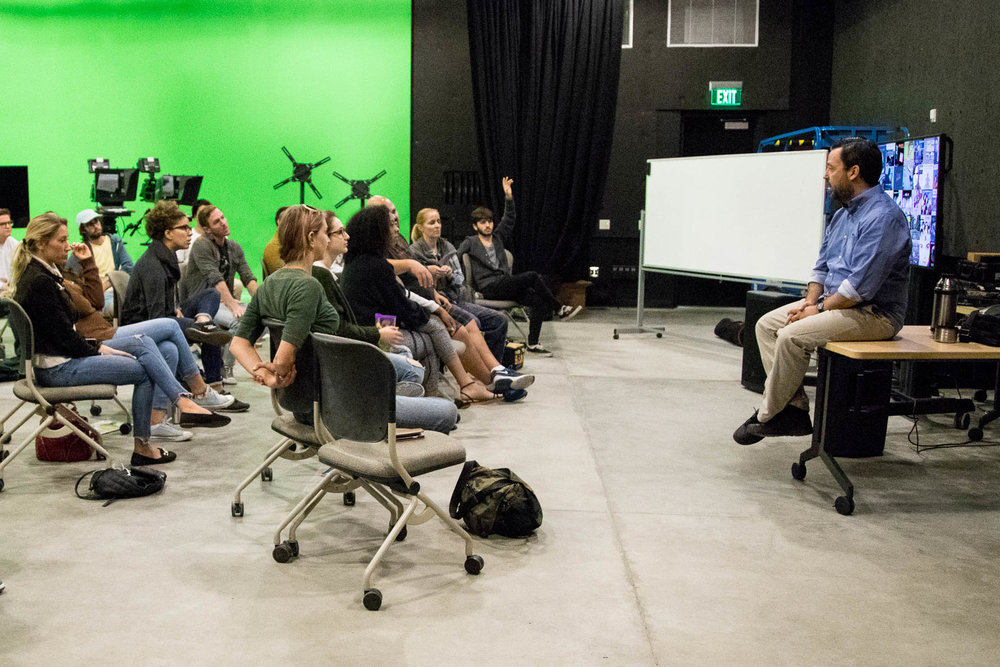 Professor of Film and Production, Salvador Carrasco teaches a class at the new Santa Monica Colleges Center for Media and Design building in Santa Monica, Calif. on September 14, 2017 . (Jazz Shademan)