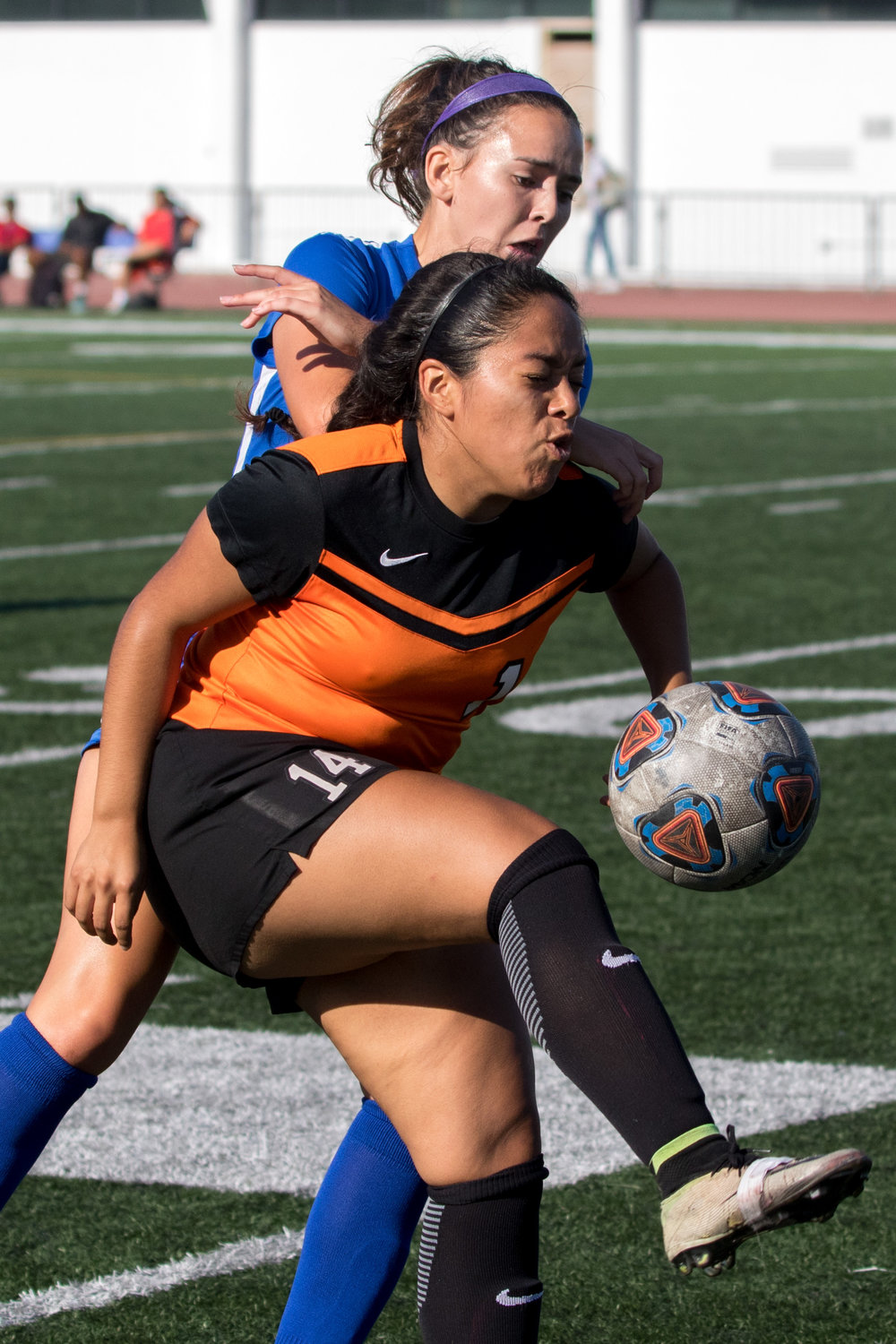 Ventura College Pirates freshman midfielder Marina Salinas (14, middle) attempts to keep the ball away from a Santa Monica College Corsairs defender. The Corsairs were able to come out with a 2-1 victory at the Corsair Field located on Santa Monica Colleges Main Campus in Santa Monica California on September 26, 2017. (Photo By: Zane Meyer-Thornton)